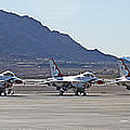 Eight F-16 Thunderbird Falcon's On Static Display Nellis by Carl Deaville