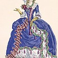Elaborate Court Dress In Electric Blue by Augustin de Saint-Aubin