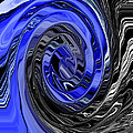 Electric Blue Wound Into Black And White Abstract by Minding My  Visions by Adri and Ray