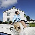 Elegant Woman And Borzoi Dog by Christian Lagereek