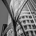 Element Of Duenos Do Los Estrellas Statue With Miami Downtown In Background - Black And White by Ian Monk