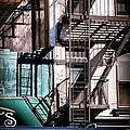 Elemental City - Fire Escape Graffiti Brownstone by Miriam Danar