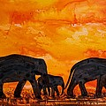 Elephants At Sunset by Patricia Beebe