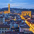 Elevated Night View Of Central Florence by Liz Leyden