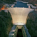 Elevated View At Dusk Of Hoover Dam by Panoramic Images