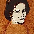 Elizabeth Taylor Original Coffee Painting On Paper by Georgeta  Blanaru