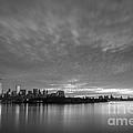 Ellis Island And Manhattan Sunrise Bw by Michael Ver Sprill