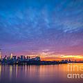 Ellis Island And Manhattan Sunrise by Michael Ver Sprill