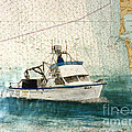 Elly Crab Fishing Boat Nautical Chart Map Art by Cathy Peek