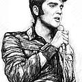 Elvis Presley Art Drawing Sketch Portrait by Kim Wang
