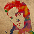 Elvis Presley Watercolor Portrait On Worn Distressed Canvas by Design Turnpike