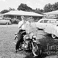 Elvis Presley With His 1956 Harley Kh by The Harrington Collection