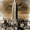 Empire State Building Blimp Docking Sepia by Tony Rubino