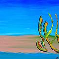 Empty Beach In Tel Aviv Abstract Seascape by Eliza Donovan