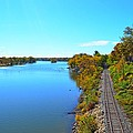 Empty Train Tracks Of Rockford On The Rock River With Fall Colors by Jeff at JSJ Photography