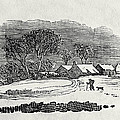 Endpiece, Late 18th Or Early 19th Century Wood Engraving 99;landscape; Winter; Figure; Snow; Snowy; by Thomas Bewick