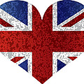 England Union Jack Flag Heart Textured by Jit Lim