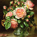 English Elegance Roses In A Glass by Albert Williams