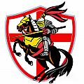 English Knight Lance England Flag Shield Retro by Aloysius Patrimonio