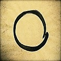 Enso #4 - Zen Circle Abstract Sand And Black by Marianna Mills