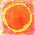 Enso No. 109 Yellow on Pink and Orange by Julie Niemela
