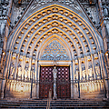 Entrance To The Barcelona Cathedral At Night by Artur Bogacki
