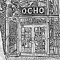Entrance To Trendy Ocho Restaurant In San Antonio Texas Black And White Digital Art by Shawn O'Brien