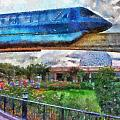 Epcot Globe And Blue Monorail Walt Disney World Photo Art 02 by Thomas Woolworth