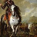 Equestrian Portrait Of Prince Eugene De Savoie 1663-1736 C.1700-10 Oil On Panel by Flemish School