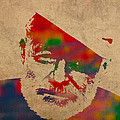Ernest Hemingway Watercolor Portrait On Worn Distressed Canvas