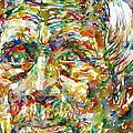 Ernst Junger Watercolor Portrait by Fabrizio Cassetta