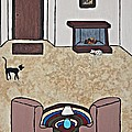 Essence Of Home - Black And White Cat In Living Room by Sheryl Young