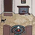 Essence Of Home - Cat By Fireplace by Sheryl Young