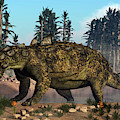 Euoplocephalus Dinosaur Grazing by Elena Duvernay
