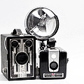 European Travelers Mother And Daughter Cameras Bw by Andee Design