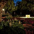 Evening In The Garden Prescott Park Gardens At Night by Jeff Sinon