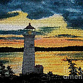 Evening Lighthouse In Stained Glass by Barbara Griffin
