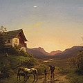 Evening Mood In Front Of A Wide Landscape With Horses by Ignaz Raffalt