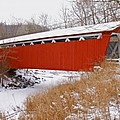 Everett Rd. Covered Bridge In Winter by Jack R Perry