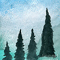Evergreens On Green And Blue Landscape #1 by R Kyllo