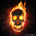 Evil skull in flames and smoke by Johan Swanepoel
