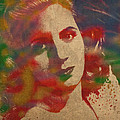 Evita Eva Peron Watercolor Portrait on Worn Distressed Canvas by Design Turnpike