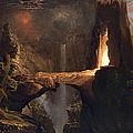 Expulsion. Moon And Firelight by Thomas Cole