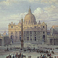 Exterior Of St Peters In Rome From The Piazza by Louis Haghe