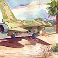 F 16 And Desert Sun. by John Ressler