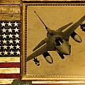 F-16 Fighting Falcon Rustic Flag by Reggie Saunders