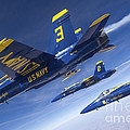Fa-18 Hornets Of The Blue Angels Fly by Stocktrek Images