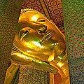 Face Of Reclining Buddha In Wat Po In Bangkok-thailand by Ruth Hager