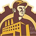 Factory Worker Building Gear Cog Retro by Aloysius Patrimonio