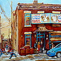 Fairmount Bagel In Winter Montreal City Scene by Carole Spandau